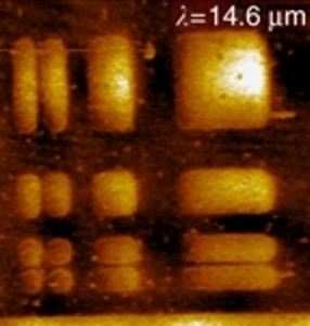 This atomic-force microscopy image shows the strontium ruthenate rectangles that were imaged with perovskite-based superlens using incident IR light of 14.6 micrometer wavelengths. Image from Kehr, et. al)