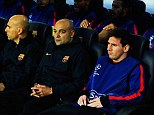 Rested: Lionel Messi was not risked against Bayern Munich on Wednesday