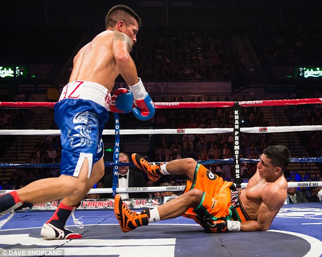 Revival: Diaz knocked Khan down in the fourth round, but the Brit got straight back up to win