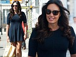 Dressed up for girl time: Tamara Ecclestone wears short skater dress as she joins a female friend for lunch