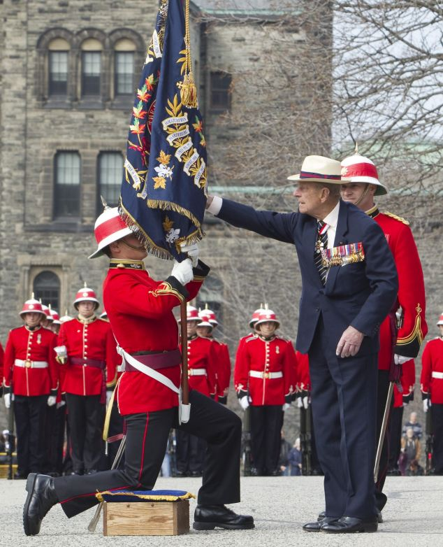 Presenting the colours: The Duke of Edinburgh has been the Colonel-in Chief of the Royal Canadian Regiment since 1953
