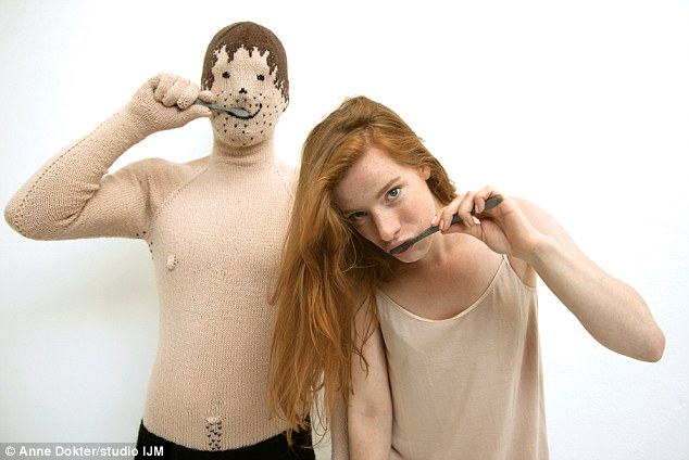 Creative: Artist Noortje de Keijzer gave up dating in favour of knitting her own boyfriend named 'Arthur'