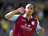 Expert finish: Aston Villa's Gabriel Agbonlahor celebrates after giving them a vital lead