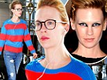 What a transformation! January Jones dresses down and goes make-up free at airport following dramatic turn at MET Gala