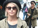 Making a dowdy exit! Julianne Hough covers up her fabulous figure in floppy hat and frumpy coat during hotel check out