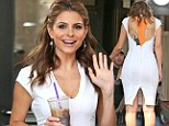 White hot Maria Menounos squeezes her perfect hourglass curves into skintight frock