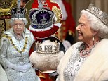 Two crowns, 3,000 gems, an 18ft robe... and a recycled dress: Queen Elizabeth II looks regal alongside Prince Philip at her 60th State Opening of Parliament