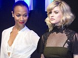 Zoe Saldana and Alice Eve compete for attention in peekaboo tops at Star Trek Mexico premiere