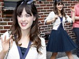 Stuck on blue! Zooey Deschanel channels vintage glamour as she steps out in full-skirted navy dress and matching flats