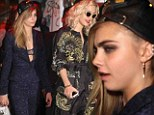 Cara Delevingne looks worse for wear leaving Met Ball afterparty with Rita Ora... as she continues to ignore suspicious white powder scandal