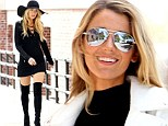 Blake Lively sets pulses racing in a coat with very little underneath... before slipping into thigh high boots on set of photo shoot