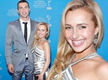 Under wraps! Hayden Panettiere covers her curves in halterneck gown as she poses beside towering beau Wladimir Klitschko