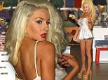 Looking for an extra small? Courtney Stodden totters into a children's clothing and toy store in her sky-high heels and pair of tiny Daisy Dukes