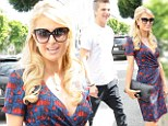 Pretty as a picture! Paris Hilton makes an entrance in low-cut frock at The Ivy with toyboy River Viiperi