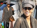 Back on mommy duty! Halle Berry parades her pregnancy chic in leather trousers and knit sweater on school drop off with Nahla