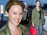 That was a busy trip! Fresh faced Kylie Minogue heads for the airport after star turn at Met Gala and time at Jay Z's studio