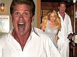 Burgers or bust! Hungry David Hasselhoff satisfies his craving as he steps out for dinner with girlfriend Hayley Roberts