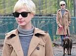 Anne Hathaway walks her dog in Brooklyn, New York City
