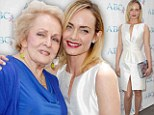 So that's where she gets her good looks! Model Amber Valletta and her glamorous grandmother show off matching high cheekbones at Mother's Day lunch