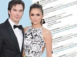 'People change and forget to tell each other': Ian Somerhalder's cryptic tweet after split from Vampire Diaries co-stars Nina Dobrev
