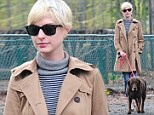 Anne Hathaway walks her dog in Brooklyn, New York City