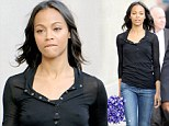 Star Trek... Into Coldness! Zoe Saldana reveals a bit too much as she falls victim to Hollywood's unseasonably chilly weather