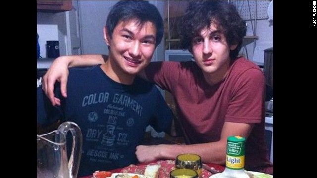 Kadybayev, left, poses with Dzhokhar Tsamaev in a picture taken from the social media site VK.com.