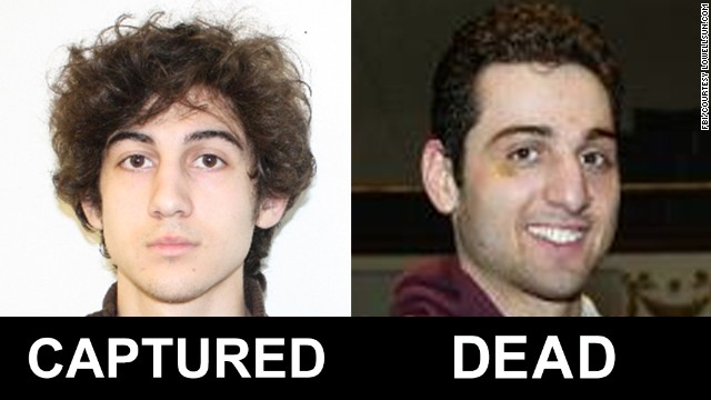 The FBI released photos and video on April 18 of two men identified as Suspect 1 and Suspect 2 in the deadly bombings at the Boston Marathon. They were later identified as Dzhokhar Tsarnaev, 19, and his brother Tamerlan Tsarnaev, 26.