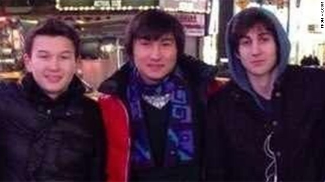 From left, Azamat Tazhayakov and Dias Kadyrbayev went with Boston bombing suspect Dzhokhar Tsarnaev to Times Square in this photo taken from the social media site VK.com. Tazhayakov and Kadyrbayev were arrested on Wednesday, May 1, on charges they tried to throw investigators off Tsarnaev's trail. See all photography related to the Boston bombings.