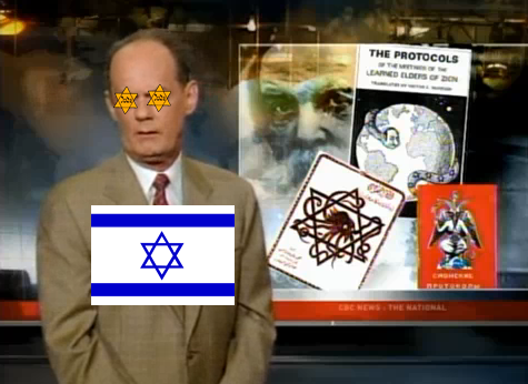 According to Rex Murphy of the Jew-media organ CBC, Jews could never possibly engage in criminal activity to advance a political agenda such as Zionism or Communism. NO, says Rex, Jews are innocent victims of discrimination by evil gentiles! In addition to eternal Jew-loving, Rex Murphy also appears to suffer from chronic constipation, always looking like he just sucked on a sour lemon.
