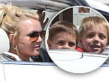 A quick way to get her quick fix! Britney Spears treats her sons Sean Preson and Jayden to a ride in her convertible... as she pops in to a drive-thru Starbucks
