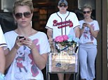 Britney Spears grocery shopping in a Mickey Mouse T-shirt with her boyfriend David Locado