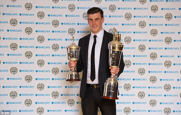World class: Bale picked up trophies for PFA Player of the Year and Young Player of the Year