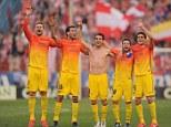 Champions: Barcelona players celebrate their comfortable La Liga triumph