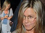 Simply spect-actular: Jennifer Aniston concealed her baby blues with a pair of aviator glasses to attend a Broadway play in New York on Friday