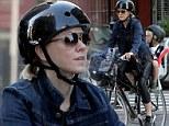 An eco-friendly school run! Naomi Watts bikes her blonde-haired boy around Manhattan