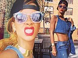 Triple threat: Rihanna donned an all-denim outfit as she posted impromptu snaps to her Twitter, on Sunday