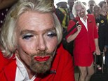 Pucker up: Richared Branson dons the AirAsia uniform and a full face of make-up after losing a bet