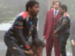 Can only make me stronger! Kanye West muscles his way through a fight scene on set of Anchorman: The Legend Continues