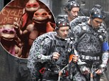 Pictured: The Teenage Mutant Ninja Turtles as you've never seen them before... wearing hi-tech motion capture suits for film reboot