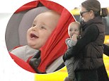 So happy! Giuliana Rancic was spotted with her smiling baby boy Edward Duke at LAX in Los Angeles, California on Saturday