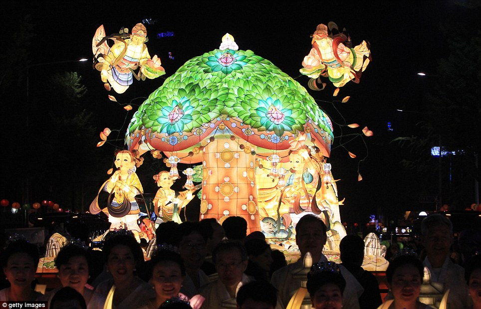 Legend: A float depicts the tree under which Buddha was believed to have been born around 25 centuries ago