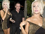 Courtney Stodden slips out of her dress after romantic meal... as she and husband Doug Hutchison take home doggy bag