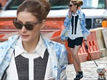 Leggy lady! Olivia Palermo shows off her slender stems as she takes her fluffy pup Mr. Butler on a walk in NYC
