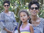 Can't hide that bump! Halle Berry wears a loose dress to birthday party with daughter Nahla after Cancer Walk on Saturday