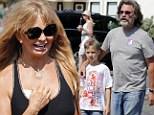 Grandmother's day: Goldie Hawn and grandson Ryder enjoyed lunch in Malibu on Saturday along with Kurt Russell