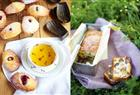 Madeleines with Lemon Curd, left, and Cured Sausage, Pistachio and Prune Cake from The Little Paris Kitchen by Rachel Khoo