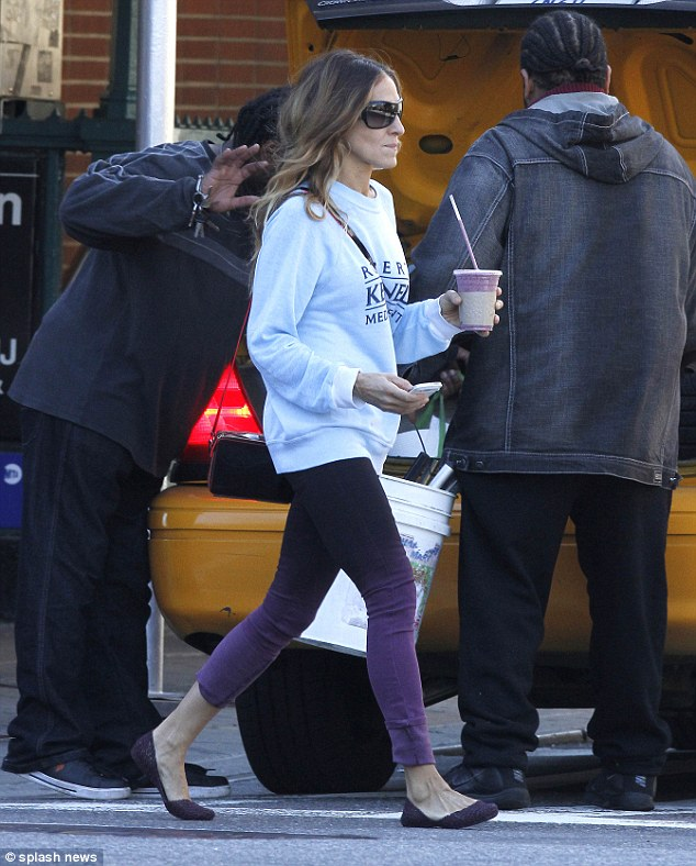 Smooth criminal: The Sex and the City star was later seen carrying a smoothie through the West Village