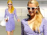 Vintage glamour: Paris Hilton donned a 60s inspired outfit for a solo stroll through Beverly Hills, on Monday