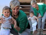 One small step for mum? Elsa Pataky attempts to teach her daughter India how to walk during lunch with grandma